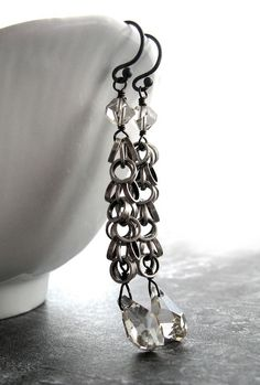 Silver Jazz Crystal Earrings - Antiqued Silver Circle Chain, Long Clear Crystal Earrings, Modern Crystal Teardrops, Contemporary Jewelry $38
