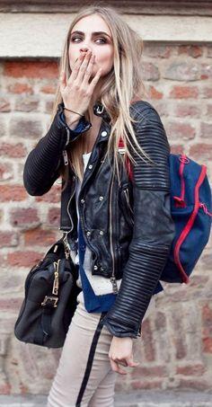 Cara Delevingne Black leather moto jacket