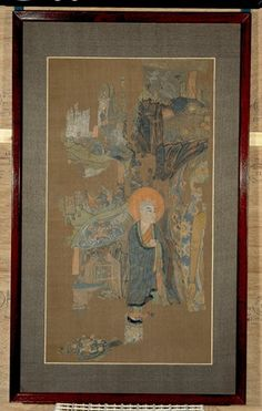 Fragment of a very  large painting about Buddha Sakyamuni preaching at the Vulture Peak. The Buddha is recognisable by the long arm extending downward on the right, the only part of the figure which survives. Behind the Budhha, a rocky background with several birds, including a vulture. The main part of the fragment shows the monk Liu Sahe and, on the left-hand side, several scenes from the story of the miraculous Buddha image of Mount Yugu. Ink and colours on silk.