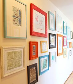 This family framed graphic maps from every city they've ever visited. Start this tradition in your house to track your travels, and fill a bare space with cool, colorful images. Get the tutorial at Running Lawyer »  - GoodHousekeeping.com
