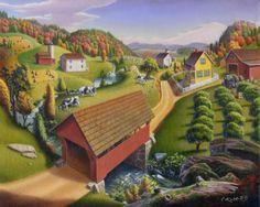 Farm Landscape Painting | folk art: Farm Landscape Appalachian Covered Bridge rural rustic ...