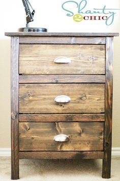 Learn how to build a 3-drawer nightstand! FREE plans and tutorial at Shanty-2-Chic.com