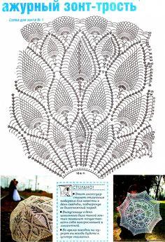 m Crochet Tablecloth, Crochet Doilies, Crochet Lace, Lace Umbrella, Lace Parasol, Doily Patterns, Knitting Patterns, Crochet Patterns, Crochet Chart