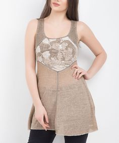 Cappuccino Abstract Graphic Top