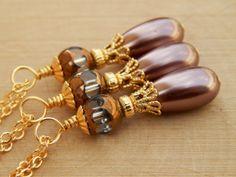 Brown bridesmaid necklace bridesmaid pearl by SheJustSaidYes, $15.00