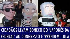 Cidadãos levam boneco do 'Japonês da Federal' ao Congresso e 'prendem' Lula