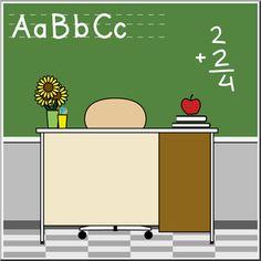 School Clip Art - Teachers Desk
