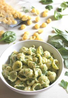 Spinach and basil pesto macaroni cheese - I love noodles + I love cheese + I love pesto. Did I just arrive in heaven?????