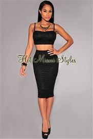 Black Lace Padded Two Piece Set