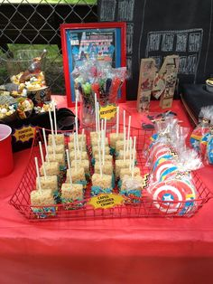 LOVE the colors of the rice crispy treats  and comic book lettering