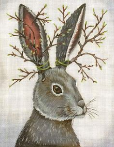 Melissa Shirley Designs | Hand Painted Needlepoint | Jack-a-lop, Vicki Sawyer design