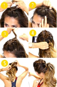 This is my favorite hairstyle for pre/post workout and second-day hair. The braided style near the crown does a great job minimizing the sweaty strands and keeping the hair off my face. So here's an advice, ditch the boring basic pony tail for gym and update your look with this mohawk braid pony. Note: You'll have to manipulate a dutch braid to create the mohawk style. Steps: 1. Grab hair from crown and divide it into three sections. Start dutch braiding (add hair from side ...