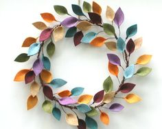 "Colorful Wreath with Felt Leaves - Modern Everyday Wreath - Felt Leaf Wreath - 15-16"" Size"