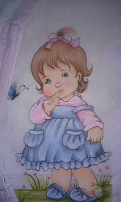 Bonecas Tole Painting, Fabric Painting, Drawing For Kids, Art For Kids, Children Sketch, Girl Drawing Sketches, Baby Clip Art, Holly Hobbie, Vintage Dolls