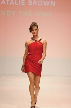 Natalie Brown wearing Andy The-Anh, The Heart Truth Fashion Show 2009.