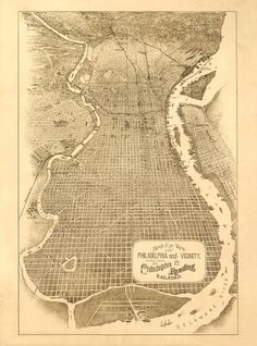 Vintage Map  Philadelphia Pennsylvania 1870 by Imagerich on Etsy, $30.00