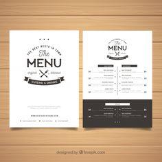 Elegant black and white menu template Vetor grátis