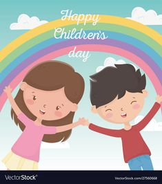 Happy childrens day boy and girl smiling rainbow Vector Image , Happy Children's Day, Happy Kids, Child Day, Art For Kids, Boy Or Girl, Art Projects, Vector Free, Royalty, Rainbow