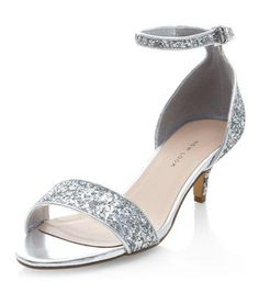 super cute sparkle ~Wide Fit Silver Ankle Strap Low Kitten Heels #heels #covetme #newlook