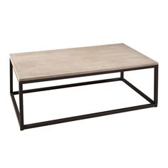 rectangular coffee table in wood and metal