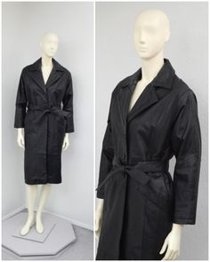 Vintage 90s Black Leather Trench Coat Leather by SprightlyVogue