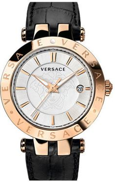Versace 'V-Race' Leather Strap Watch 42Mm #watches #womens