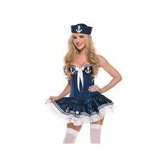 Blue Sea Flirt Sailor Girl Costume ($46) ❤ liked on Polyvore featuring costumes, sailor halloween costumes, blue halloween costume, blue costume and sailor costume