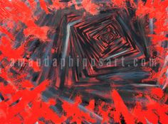 """Stairwell"" Abstract oil painting on hardboard 48x36x1.75"" gray, red, black amandaphippsart.com"