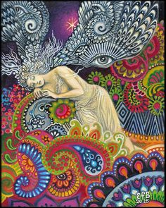 Theia Goddess of Sight and Heavenly Light Psychedelic Art 11x14 Print