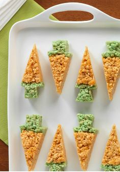 Carrot-Shaped RICE KRISPIES TREATS – Your guests will be hippity hopping to the Easter dessert table to taste one of these cute yet super easy carrot-shaped treats. The Easter Bunny himself will be impressed!