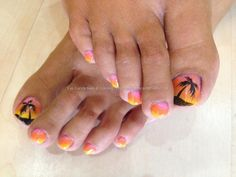 Eye Candy Nails & Training - Holiday toes with 3 colour gel fade and freehand palm tree nail art by Elaine Moore on 2 August 2013 at Holiday Nail Designs, Holiday Nail Art, Toe Nail Designs, Pedicure Designs, Toe Nail Art, Toe Nails, Gel Nail, Gel Pedicure, Beach Pedicure