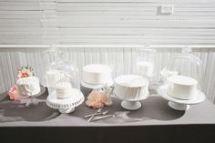 a bunch of small cakes...cake stands