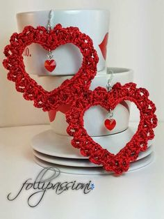 San Valentino, Valentine's day, orecchini uncinetto, earrings crochet, uncinetto schemi gratis,  crochet pattern free