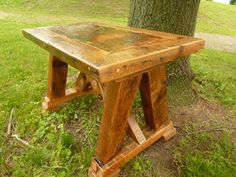 This Table is made of reclaimed barnwood. The legs are hemlock barn beams. This table is sealed with a natural clear shellac finish to protect