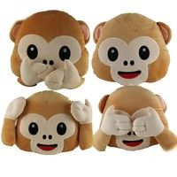 Wish | New Emoji for Whats app No Saying No Looking and No Listening Monkey Pillow & Cushion, Stuffed & Plush Toy Emoji Monkey Doll