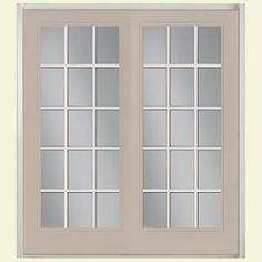 Masonite 72 in. x 80 in. Canyon View Steel Prehung Left-Hand Inswing 15 Lite Patio Door with No Brickmold in Vinyl Frame-32173 at The Home Depot