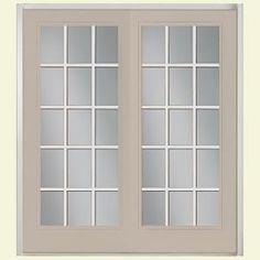 Canyon View Prehung Left Hand Inswing 15 Lite Steel Patio Door With No  Brickmold In Vinyl Frame
