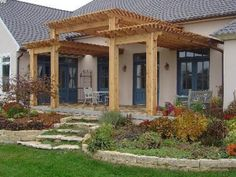 Here's a three tiered wooden patio trellis.