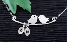 Kissing+Love+Birds+Necklace+TWO+Initial+Monogram+by+hotmixcold,+$31.00
