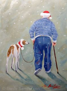 'We don't do Christmas!' Art Print by Steve Sanderson Christmas Animals, Christmas Art, Lévriers Whippet, Greyhound Kunst, Dog Quotes Love, Dog Cafe, Art Through The Ages, Lurcher, Grey Hound Dog