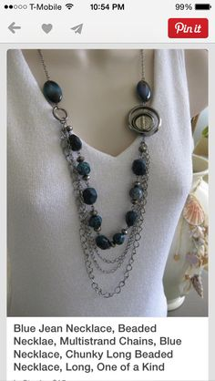 Blue chain beaded necklace