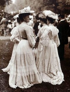 Fashionable women 1900-05. When one sees over-dressing taken to this pitch it is salutary to remember that fashions can vanish from the face of the Earth - less than 20 years later these women's daughters would be looking slim and girlish in skimpy little Flapper dresses.