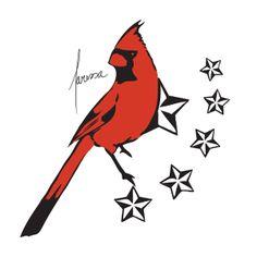 stencil for cardinal silhouette pillow | American folk art ...  |Cardinal Silhouette Tattoo