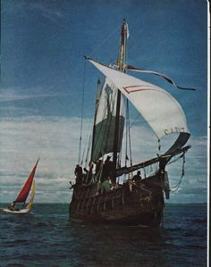 "1963 COLUMBUS SHIP vintage magazine article ""We sailed The Columbus Ship"" ~ ""We sailed The Columbus Ship"" - The incredible story of how nine men in a forty-two-foot boat braved wind and wave to re-create the first conquest of the Atlantic - by ..."