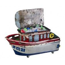 The Castaway Fishing Boat Drinks cooler is made from 44 Gallon recycled oil drums and is the brainchild of Aaron who is a Australian Jewlwery maker. Recycled Art, Recycled Materials, Metal Garden Ornaments, Ice Chest Cooler, Luxury Garden Furniture, Garden Spaces, Fishing Boats, Toy Chest, Home Goods