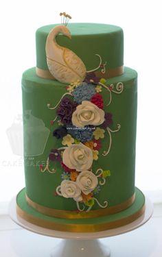 floral peacock wedding cake