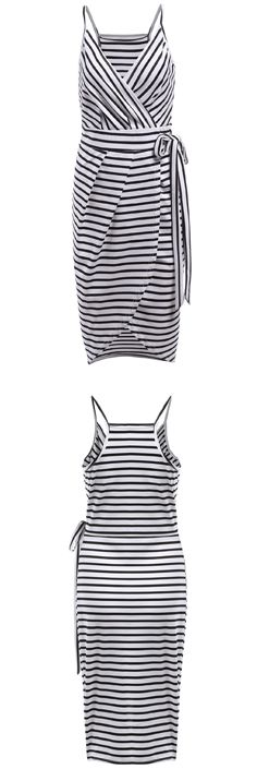 Slip into that fashionable killer look with this black white spaghetti strap striped slim dress.  Only $13.99  Save it now at Shein.com