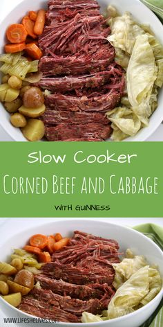 Slow Cooker Corned Beef and Cabbage- Perfect for St. patricks day dinner cabbage Slow Cooker Corned Beef and Cabbage Cornbeef And Cabbage Crockpot, Crockpot Cabbage Recipes, Cabbage Slow Cooker, Slow Cooker Corned Beef, Corned Beef Recipes, Corned Beef Brisket, Corn Beef And Cabbage, Slow Cooked Meals, Crock Pot Slow Cooker