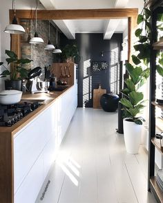 Dark, light, oak, maple, cherry cabinetry and wood kitchen cabinet trends. CHECK PIN for Many Wood Kitchen Cabinets. Black Kitchens, Cool Kitchens, Kitchen Black, New Kitchen, Kitchen Decor, Kitchen Wood, Kitchen Cabinets, Black Cabinets, Kitchen Plants