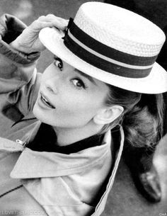 Audrey Hepburn in a boater hat